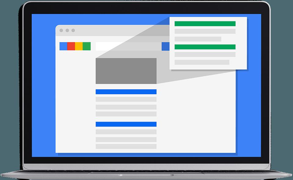 Sul desktop i tuoi annunci pubblicitari appariranno in evidenza sui motori di ricerca